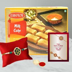 Fancy Rakhi with Delicious Milk Cake Pack
