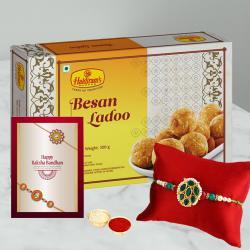 Fancy Rakhi with Tempting Besan Laddoo