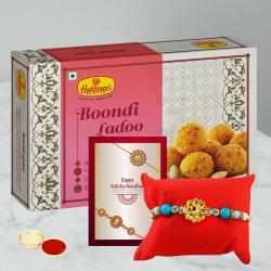 Fancy Rakhi and Motichoor Laddoo Gift Pack