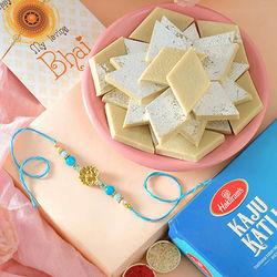 Classic Combo of Rakhi with Kaju Katli N Roli Chawal