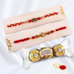 Delightful Combo of 2 Rakhi with Ferrero Rocher