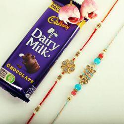Lovely Rakhis N Cadbury Dairy Milk Chocolate Combo