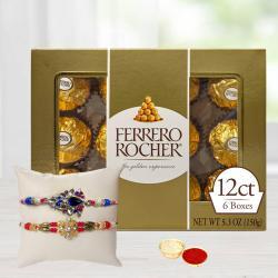 Designer Set of 2 Rakhis N 12 pc Ferrero Rocher Gift Combo