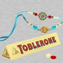 Set of 2 Designer Rakhis with Toblerone and Free Roli Tika