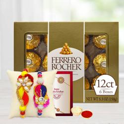 Fancy Rakhis Set with Ferrero Rocher N Free Roli Chawal