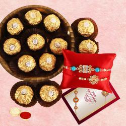 Designer Bhai Rakhi Set with Ferrero Rocher Chocolate