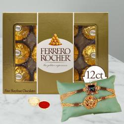 Set of 2 Fancy Rakhi N Ferrero Rocher with Free Roli Chawal