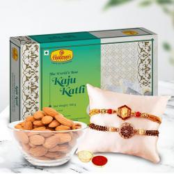 Beautiful Combo of Rakhi with Kaju Katli n Almonds