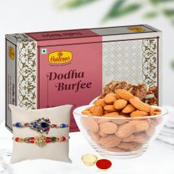 Classy Combo of Rakhis with Doda Barfi and Almonds Pack