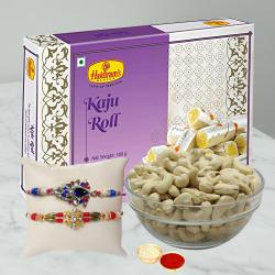 Attractive Combo of Rakhis with Kaju Roll and Cashews