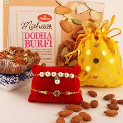 Fancy Rakhis, Dodha Burfi and Almonds Pack