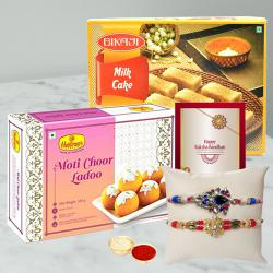 Delightful Gift of Rakhis with Sweets Desires