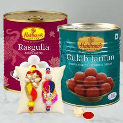 Mouth Watering Gulabjamun N Rasgulla Pack with 2 Rakhis