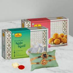 Delectable Treat of Kaju Katli N Boondi Laddoo with 2 Rakhis