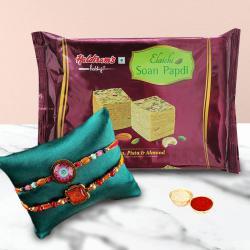 Designer 2 Rakhi Set with Thali and Soan Papdi