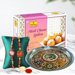 Admirable Set of 2 Rakhis with Puja Thali N Motichoor Laddu