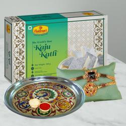 Set of 2 Fancy Rakhis N Kaju Katli with Pooja Thali