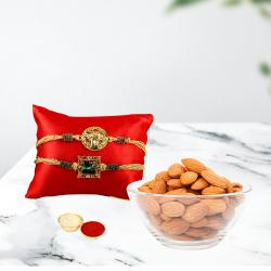 Classy Combo of 2 Rakhi with Almonds and Free Roli Chawal