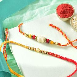 Fancy 2 Rakhis with Complimentary Roli Chawal N Rakhi Card