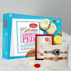 Set of 2 Fancy Rakhis with Assorted Pedas