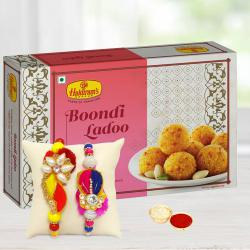 Delicious Boondi Laddoo with 2 Fancy Rakhis