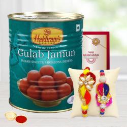 Fancy 2 Rakhis Set with Gulabjamun and Free Roli Chawal
