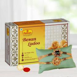Delicious Besan Laddoo with Fancy Rakhi N Free Roli Chawal