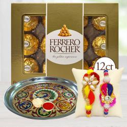 Classic Gift of 2 Rakhis with Thali and Ferrero Rocher