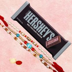 Delicious Hersheys Bar with Fancy 3 Rakhi Set