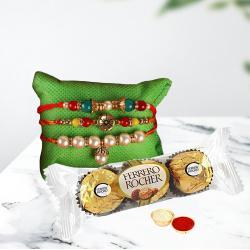 Set of 3 Fancy Rakhis N Ferrero Rocher Pack