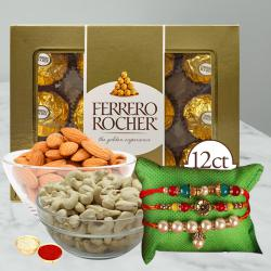 Classy Combo of Rakhis with Almonds, Cashews N Ferrero Rocher