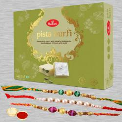 Exquisite Combo of Pista Burfi with 3 Rakhis N Free Roli Chawal