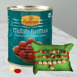 Delicious Gulabjamun with 3 Fancy Rakhi N Roli Chawal Tika