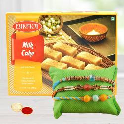 Set of 3 Fancy Rakhis N Tasty Milk Cake with Free Roli Chawal
