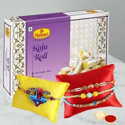 Yummy Kaju Roll with 3 Lovely Rakhis N Kids Rakhi Set