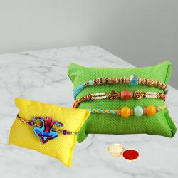 Fabulous Gift of 3 Rakhis with Kids Rakhi N Free Roli Chawal