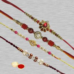 Classic Collection of 4 Rakhis with Free Roli Chawal N Rakhi Card