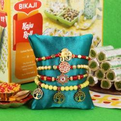 Suave Set of 4 Rakhis N Tasty Kaju Roll with Free Roli Tika