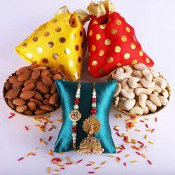 Crunchy Dry Fruits Pack with a Pair of Bhaiya Bhabhi Rakhi