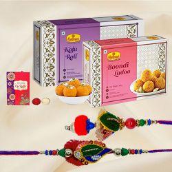 Fabulous Pair of Bhaiya Bhabhi Rakhi with Sweets