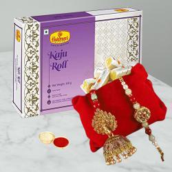 Classy Pair of Bhaiya Bhabhi Rakhi with Yummy Kaju Roll