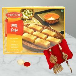 Appealing Pair of Bhaiya Bhabhi Rakhi with Yummy Milk Cake