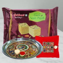 Designer Rakhi with Thali N Soan Papdi Pack