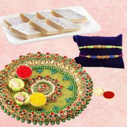 Traditional Rakhi with Thali N Yummy Kaju Katli