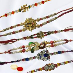 Classic Collection of 6 Rakhis with Free Roli Chawal N Rakhi Card