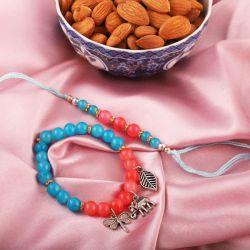Traditional Rakhi with Almonds N Free Roli Chawal and Rakhi Card