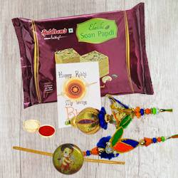 Family Rakhi Pack with Soan Papdi