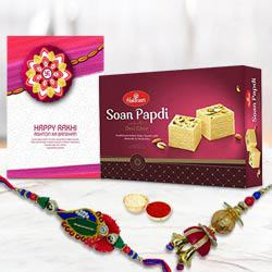 Colored Bhaiya Bhabhi Rakhi with Soan
