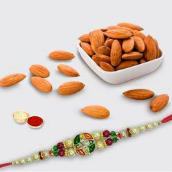 Studded Beads Rakhi with Almonds