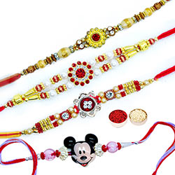 Mickey & 3 Rakhi Set